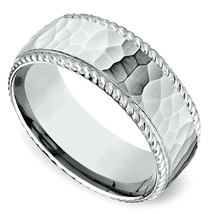 Hammered Rope Edging Men's Wedding Ring in Palladium | 01