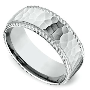 Hammered Rope Edging Men's Wedding Ring in Platinum