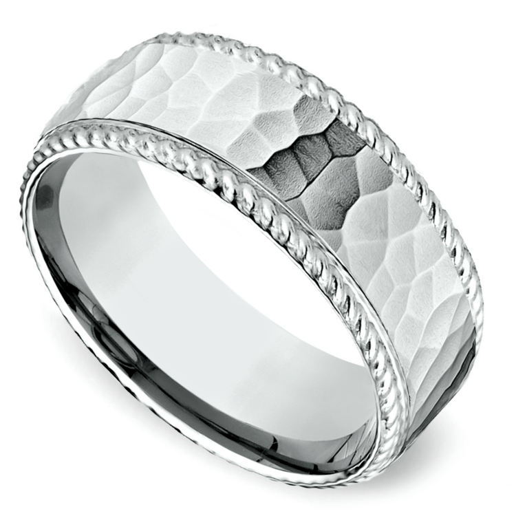 Hammered Rope Edging Men's Wedding Ring in Platinum | 01
