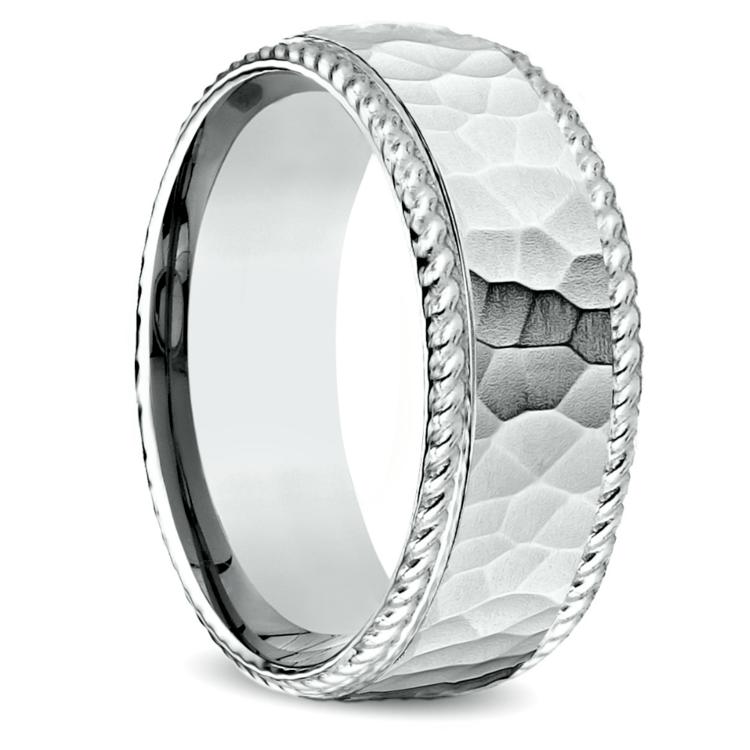 Hammered Rope Edging Men's Wedding Ring in Platinum | 02
