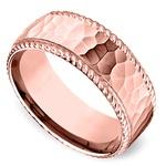 Hammered Rope Edging Men's Wedding Ring in Rose Gold | Thumbnail 01