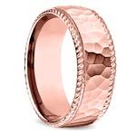 Hammered Rope Edging Men's Wedding Ring in Rose Gold | Thumbnail 02