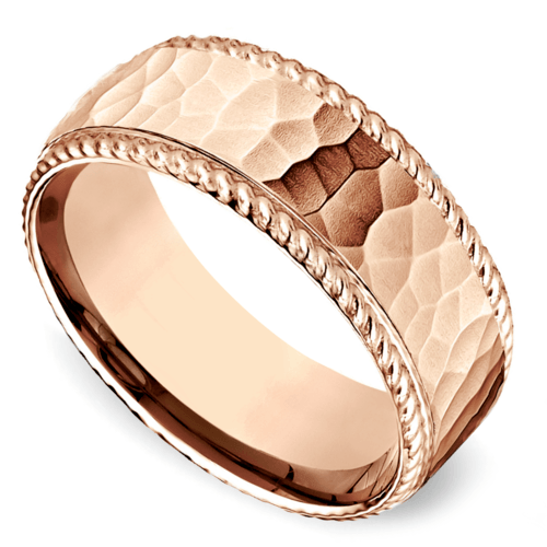 hammered rope edging mens wedding ring in rose gold - Mens Rose Gold Wedding Rings
