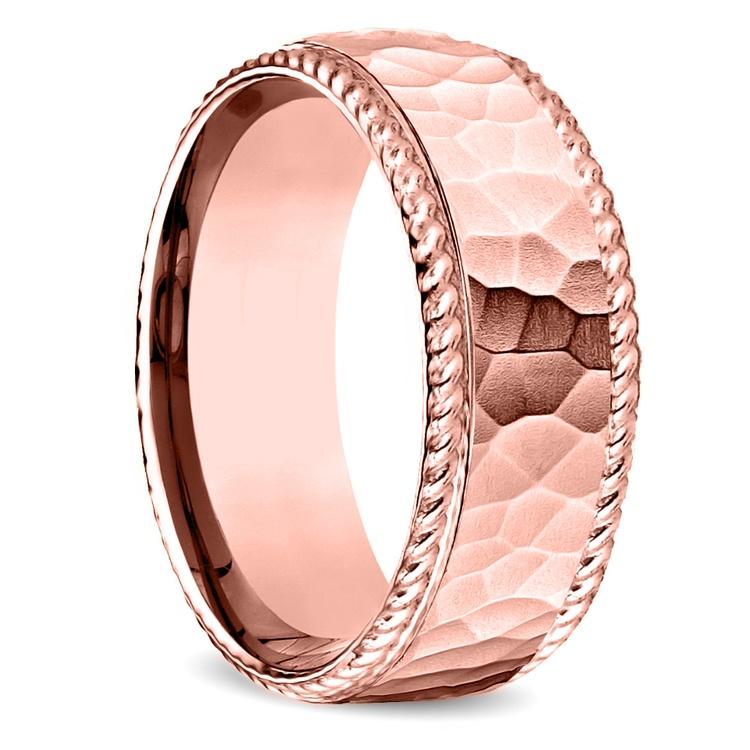 Hammered Rope Edging Men's Wedding Ring in Rose Gold | 02