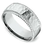 Hammered Rope Edging Men's Wedding Ring in White Gold | Thumbnail 01