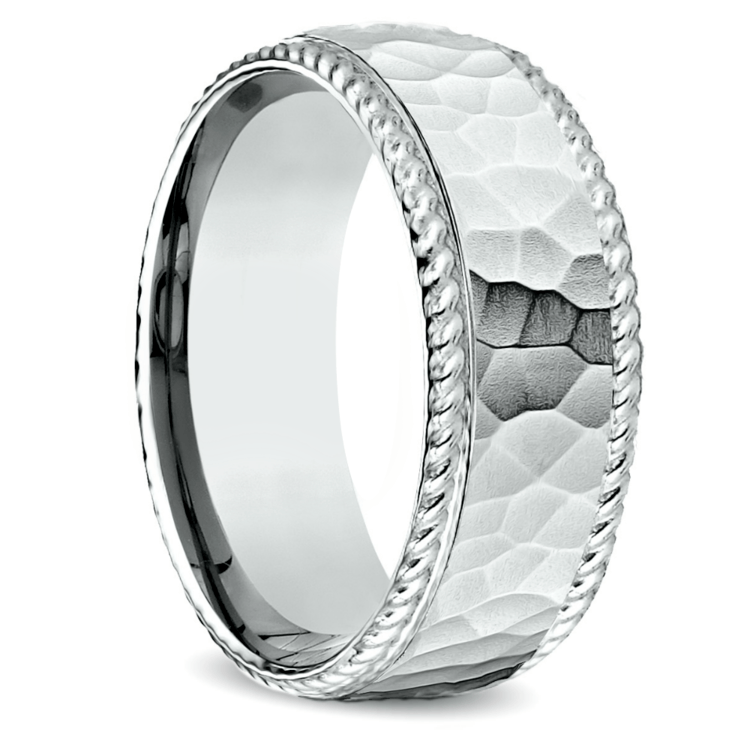 Hammered Rope Edging Men's Wedding Ring in White Gold | 02