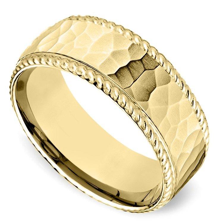 Hammered Rope Edging Men's Wedding Ring in Yellow Gold | 01