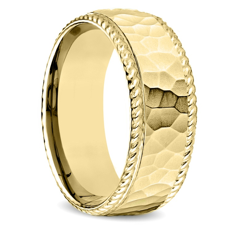 Hammered Rope Edging Men's Wedding Ring in Yellow Gold | 02