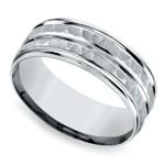 Hammered Sectional Men's Wedding Ring in Palladium | Thumbnail 01