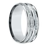 Hammered Sectional Men's Wedding Ring in Palladium | Thumbnail 02