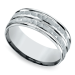 Hammered Sectional Men's Wedding Ring in Platinum | Thumbnail 01