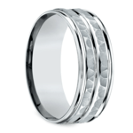 Hammered Sectional Men's Wedding Ring in Platinum | Thumbnail 02