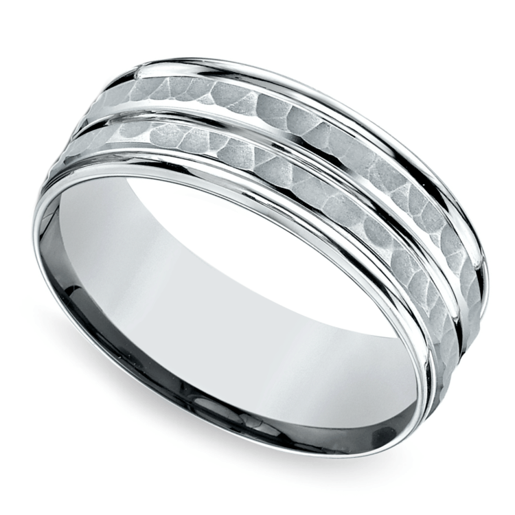 Hammered Sectional Men's Wedding Ring in Platinum | 01