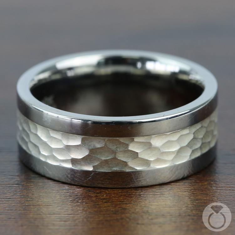 Hammered Sterling Silver Inlay Men's Wedding Ring in Titanium | 03