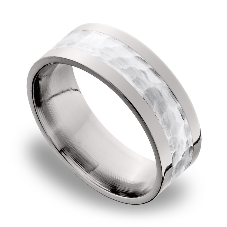 Hammered Sterling Silver Inlay Men's Wedding Ring in Titanium | 01