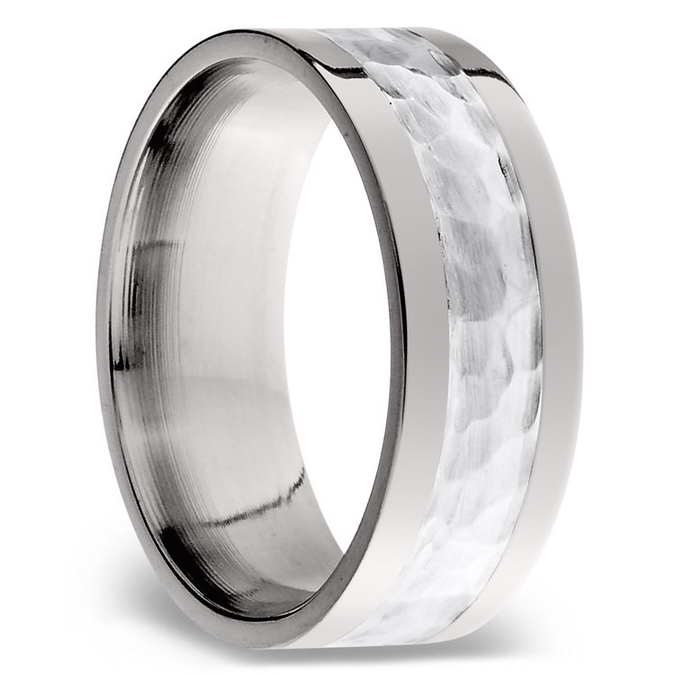 Hammered Sterling Silver Inlay Men's Wedding Ring in Titanium | 02