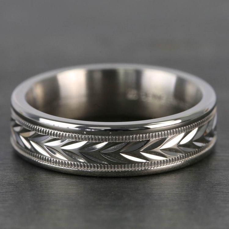 Harvest Milgrain Men's Wedding Ring in Palladium | 03