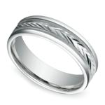 Harvest Milgrain Men's Wedding Ring in White Gold | Thumbnail 01