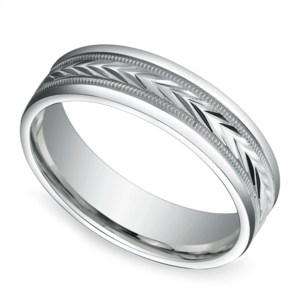 Harvest Milgrain Men's Wedding Ring in White Gold