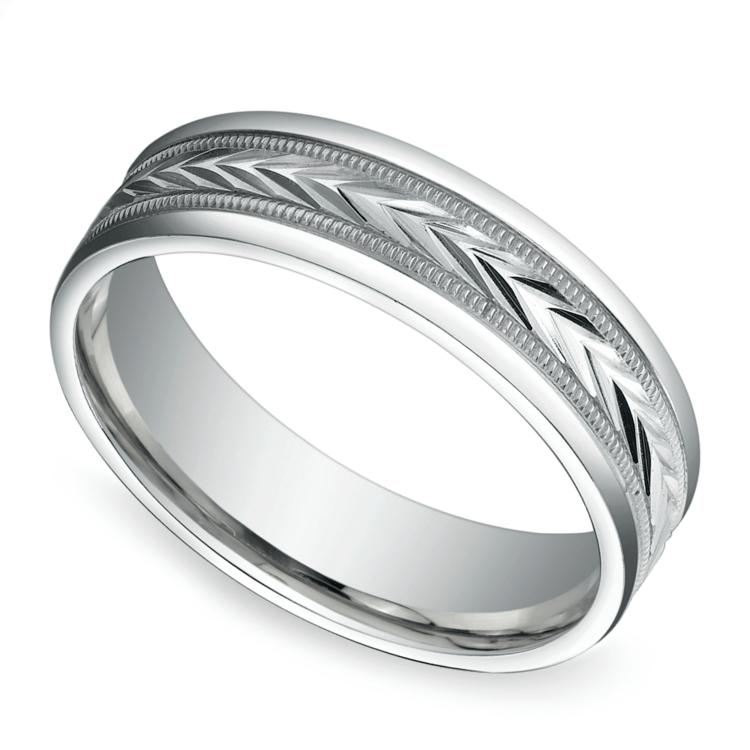 Harvest Milgrain Men's Wedding Ring in White Gold | 01