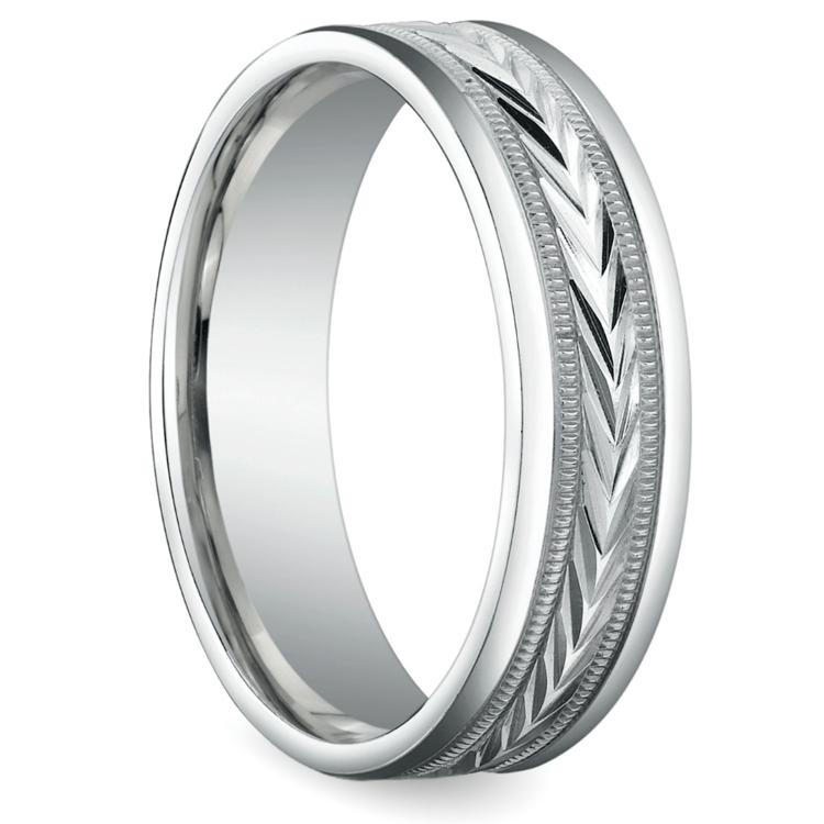 Harvest Milgrain Men's Wedding Ring in White Gold | 02
