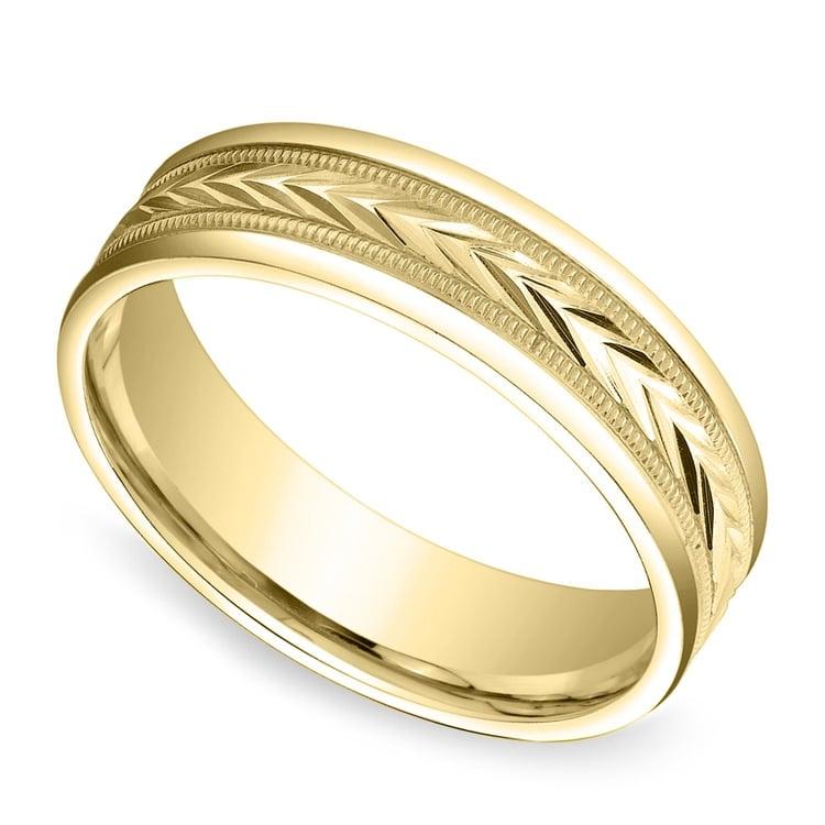 Harvest Milgrain Men's Wedding Ring in Yellow Gold | 01