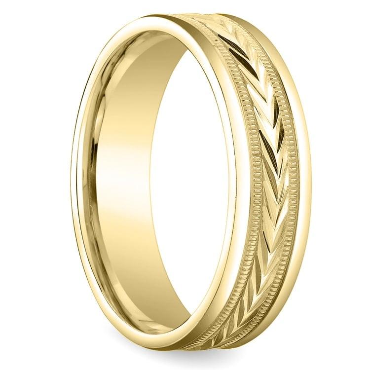 Harvest Milgrain Men's Wedding Ring in Yellow Gold | 02