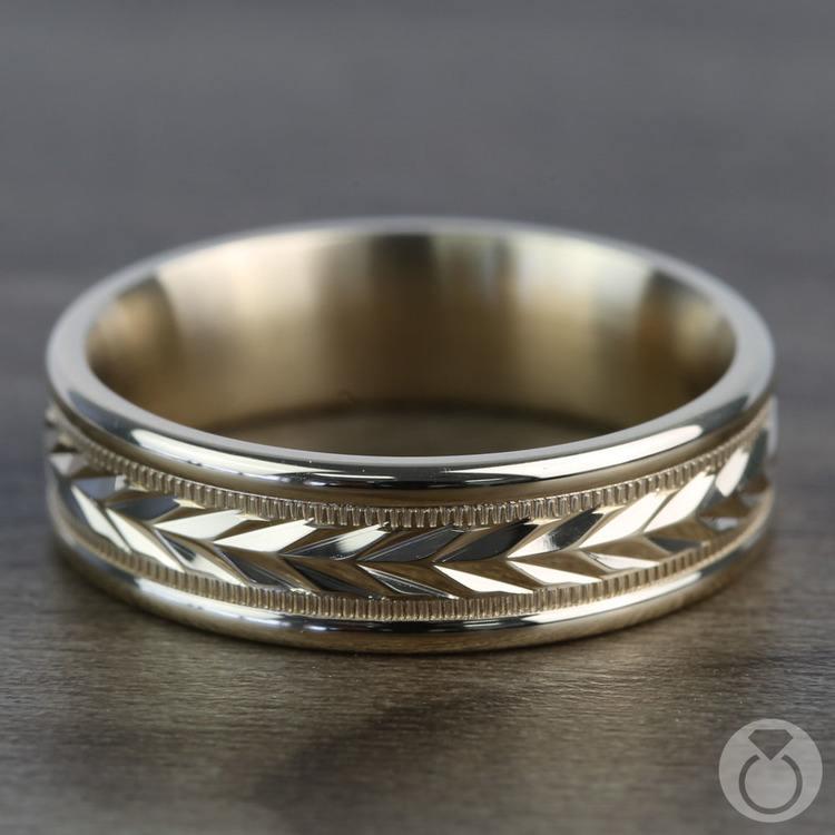 Harvest Milgrain Men's Wedding Ring in Yellow Gold | 03