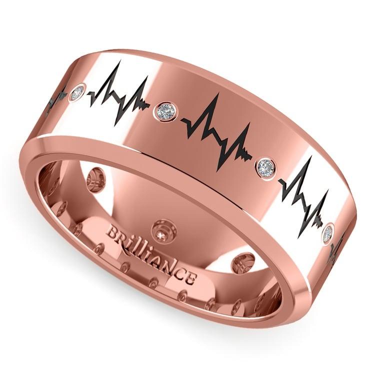 Men S Diamond Rose Gold Heartbeat Ring