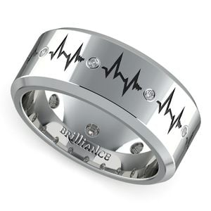 Men's Diamond Heartbeat Wedding Ring in White Gold