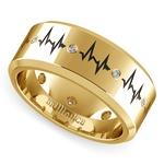 Heartbeat Men's Diamond Eternity Band In Yellow Gold | Thumbnail 01
