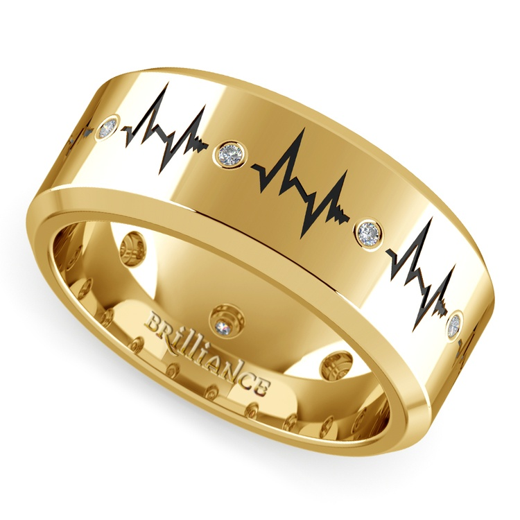 Heartbeat Men's Diamond Eternity Band In Yellow Gold | 01