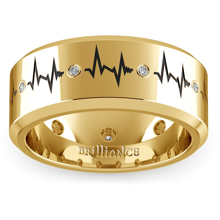 Heartbeat Men's Diamond Eternity Band In Yellow Gold | 02