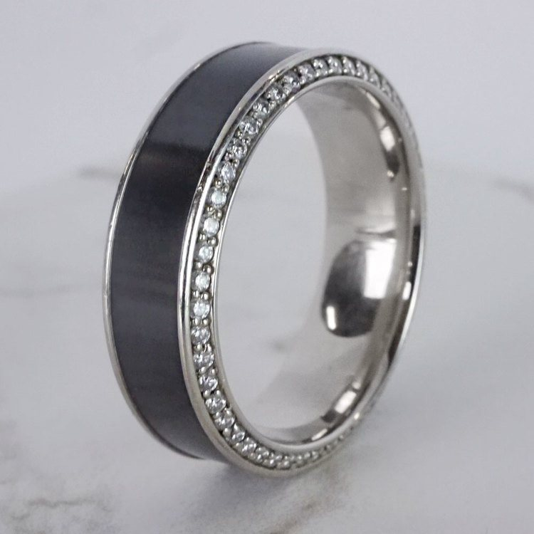 Helios - Polished Bevel White Gold Diamond Elysium Ring | 04
