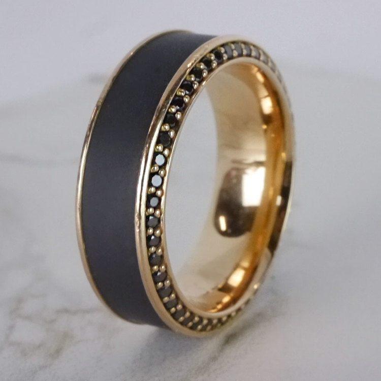 Helios - Matte Bevel Rose Gold Diamond Elysium Ring | 06