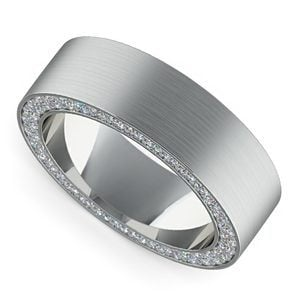 Hidden Diamond Men's Wedding Ring in Platinum (7mm)