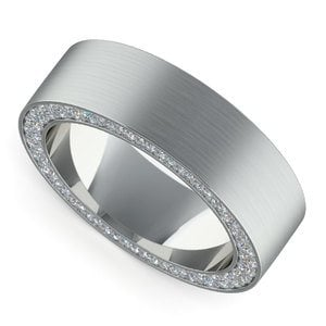 Hidden Diamond Men's Wedding Ring in White Gold (7mm)