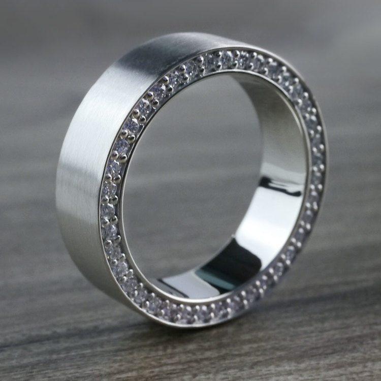 Hidden Diamond Men's Wedding Ring in White Gold (7mm) | 06