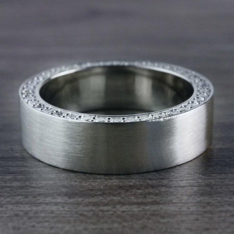 Hidden Diamond Men's Wedding Ring in White Gold (7mm) | 07