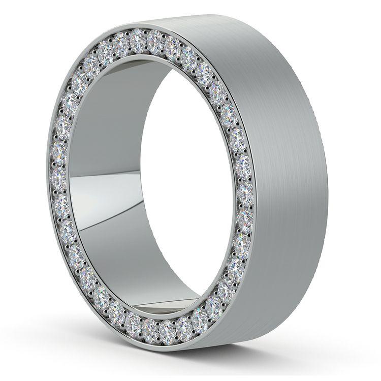 Hidden Diamond Men's Wedding Ring in White Gold (7mm)   02