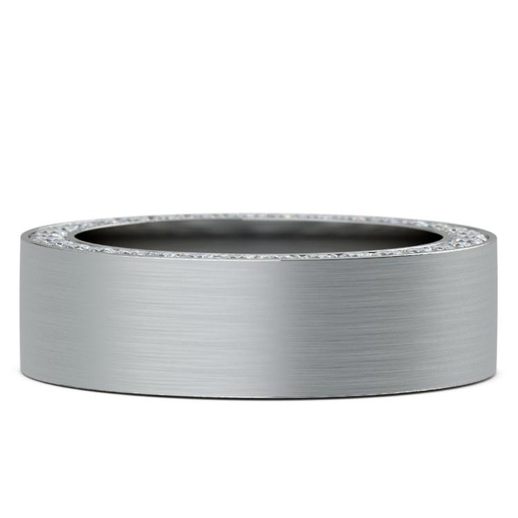 Hidden Diamond Men's Wedding Ring in White Gold (7mm)   03