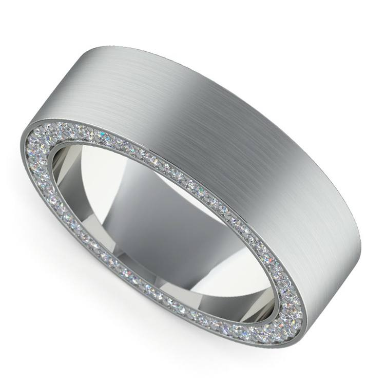 Mens Wedding Bands With Diamonds.Hidden Diamond Men S Wedding Ring In White Gold 7mm