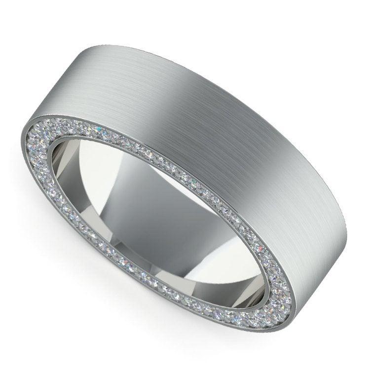 Hidden Diamond Men's Wedding Ring in White Gold (7mm) | 01