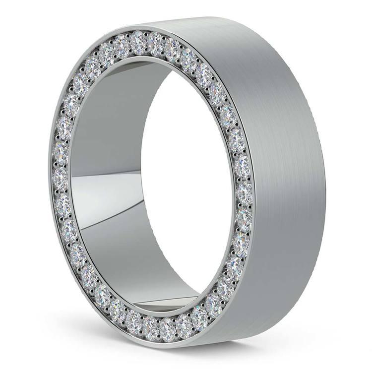 Hidden Diamond Men's Wedding Ring in White Gold (7mm) | 02