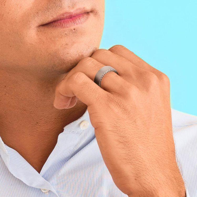 Hidden Diamond Men's Wedding Ring in White Gold (7mm) | 05