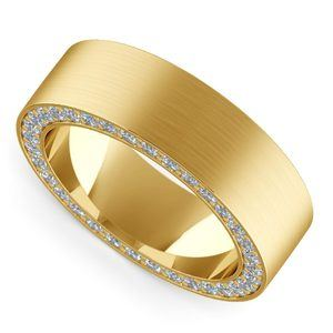 Hidden Diamond Men's Wedding Ring in Yellow Gold (7mm)