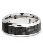 High Bevel Carbon Fiber Inlay Men's Wedding Ring in 14K White Gold | Thumbnail 03