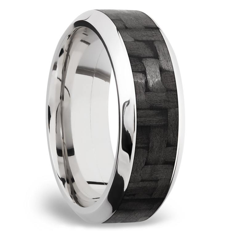 High Bevel Carbon Fiber Inlay Men's Wedding Ring in 14K White Gold | 02