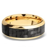 High Bevel Carbon Fiber Inlay Men's Wedding Ring in 14K Yellow Gold | Thumbnail 03