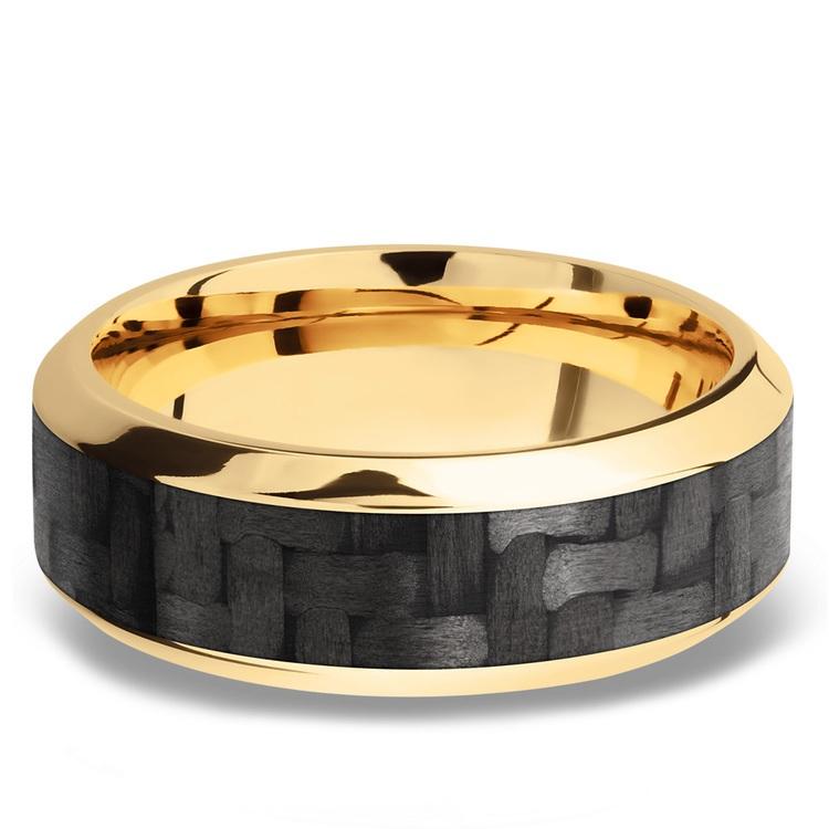 High Bevel Carbon Fiber Inlay Men's Wedding Ring in 14K Yellow Gold | 03
